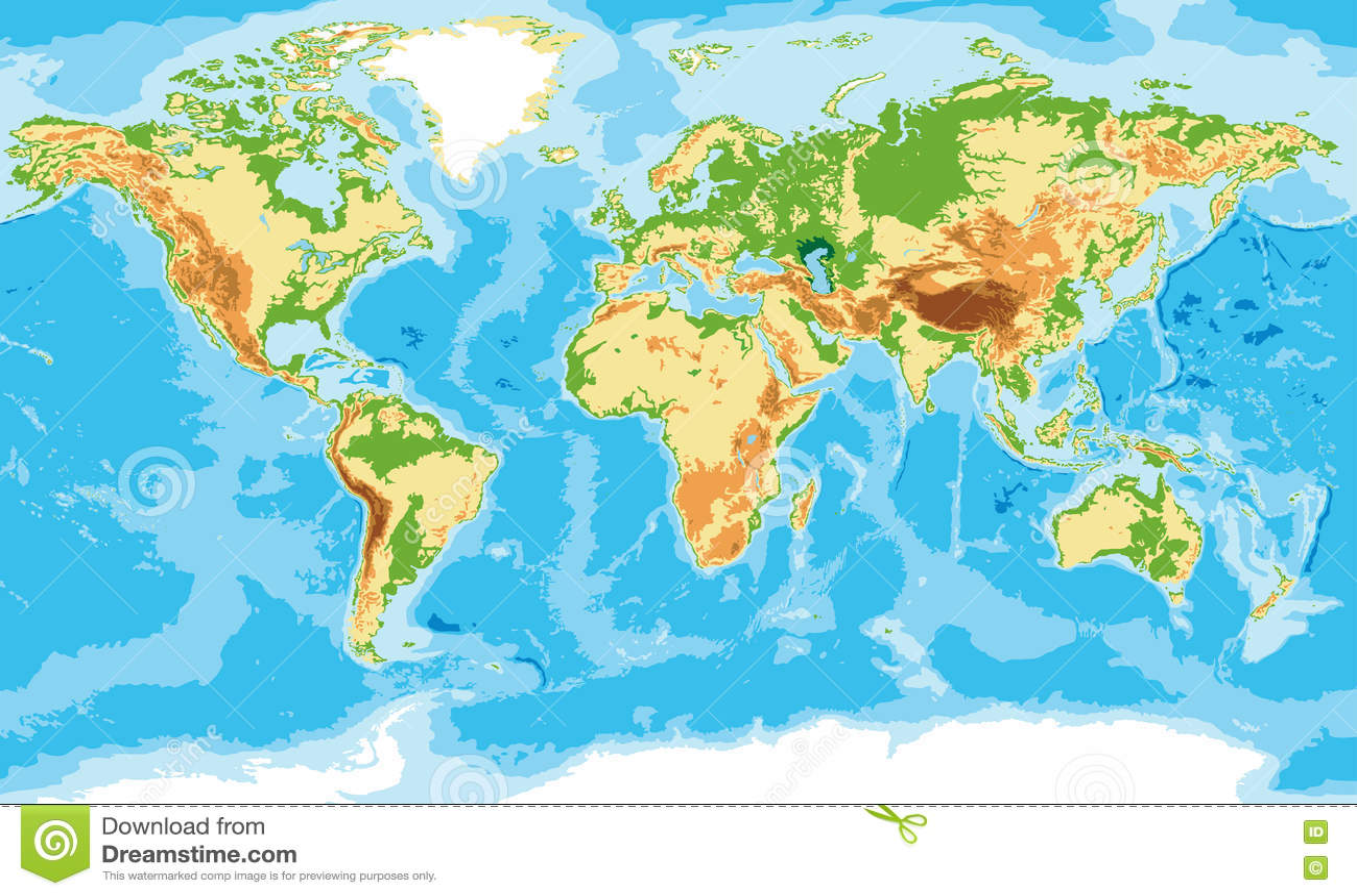 Mapa Físico Del Mundo.Mapa Fisico Del Mundo Ilustracion Del Vector Ilustracion De