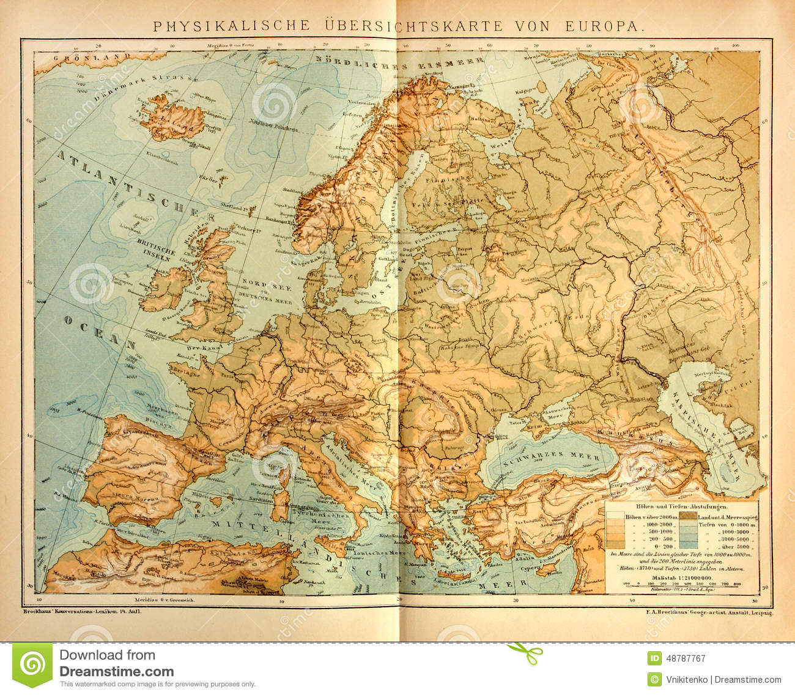 Rio Volga Mapa Fisico.Mapa Fisico Velho De Europa Fotografia Editorial Imagem De
