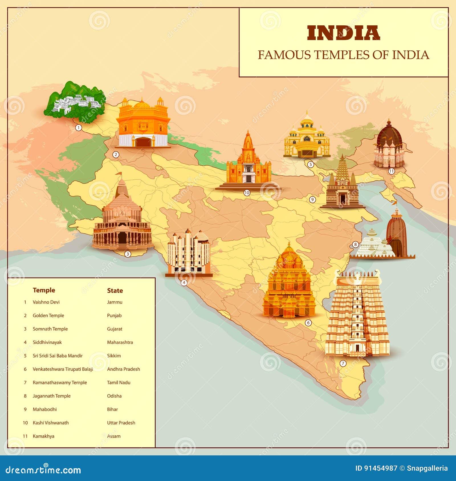 Mapa famoso del templo de la India