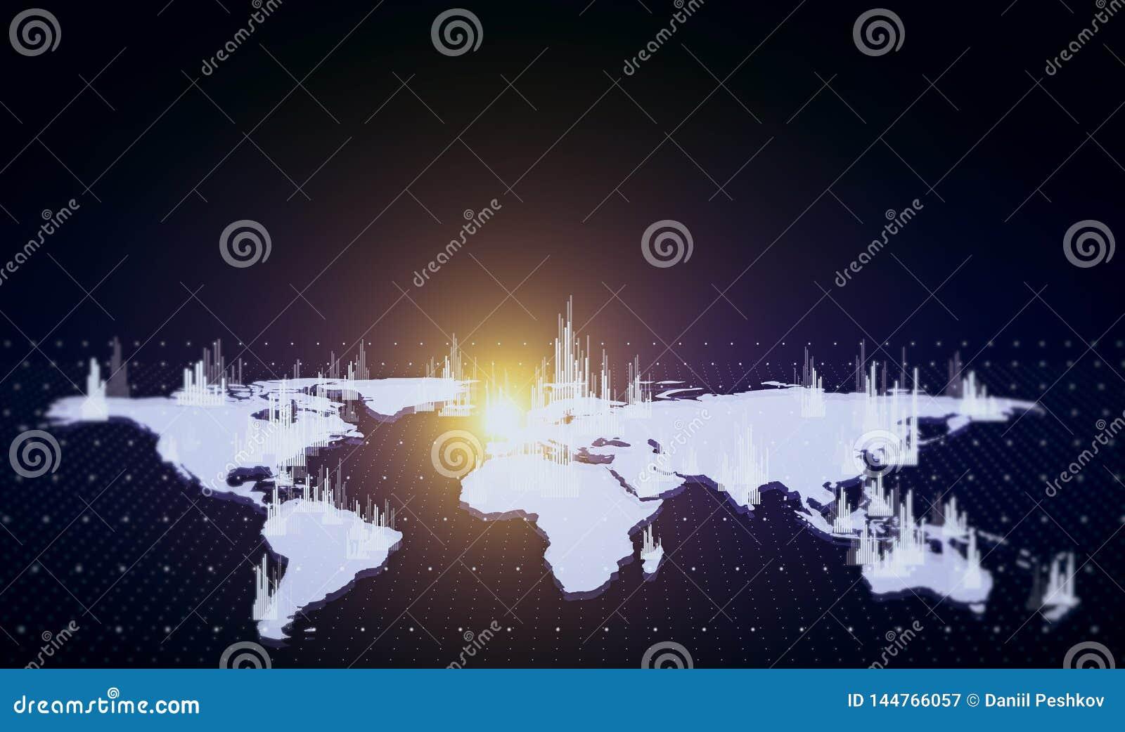 Mapa financiero blanco que brilla intensamente