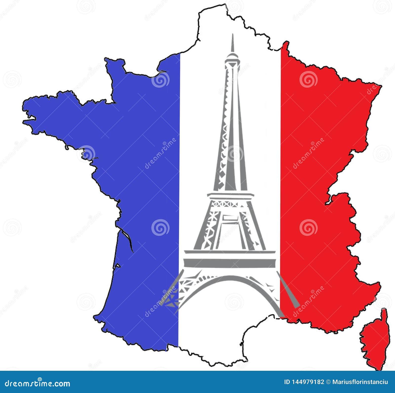Mapa Francja, flaga państowowa i wieża eifla,
