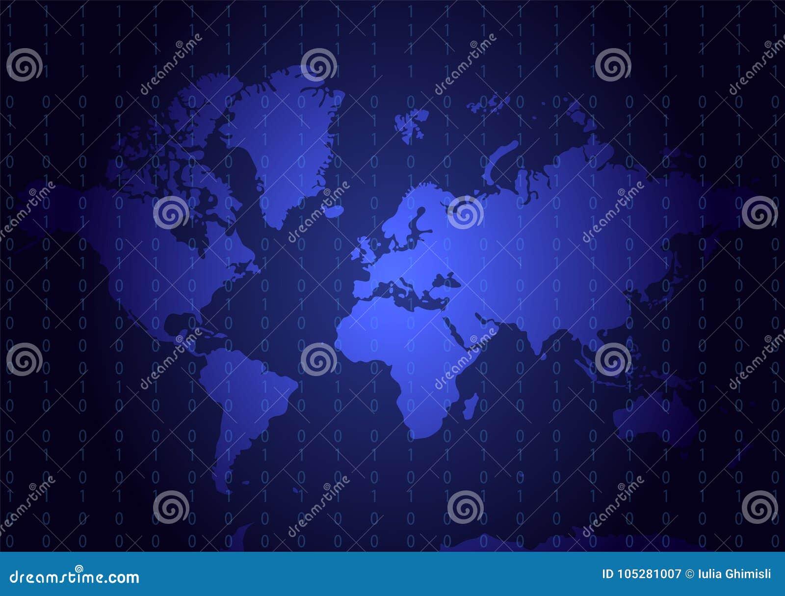 Mapa geográfico azul con números de código Todos los continentes: Asia, E