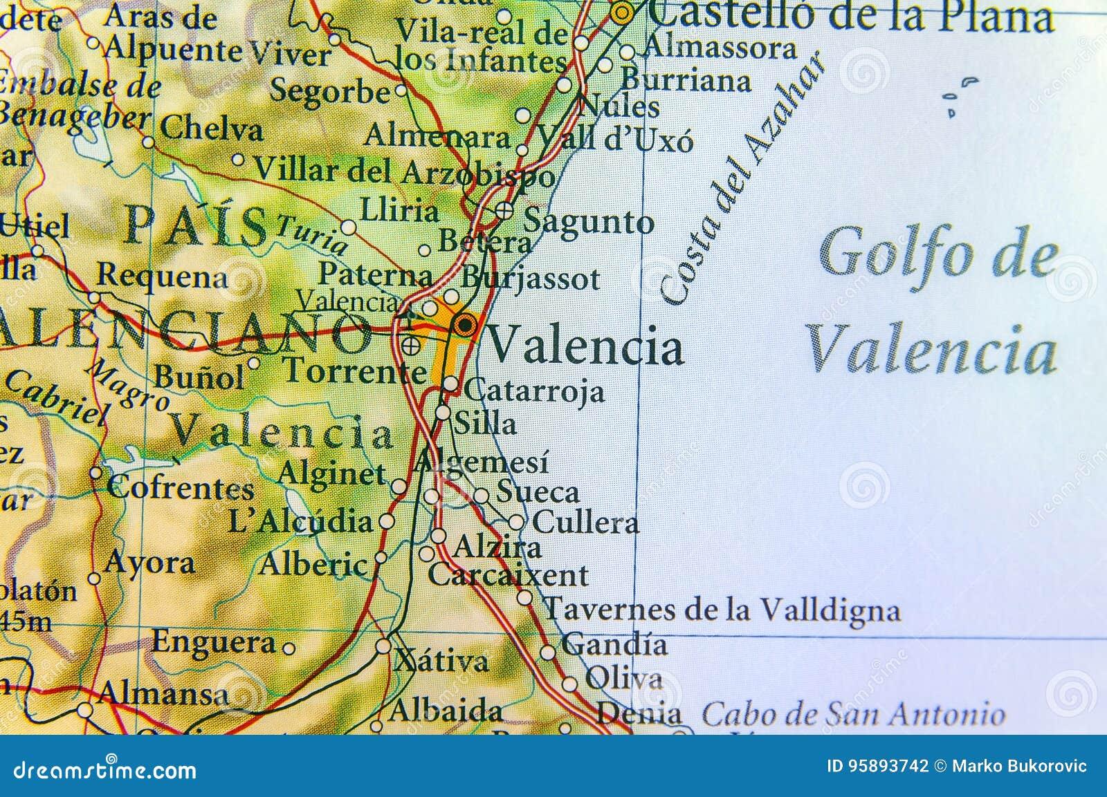 Mapa Geografico Da Espanha Do Pais Europeu Com Cidade De Valencia
