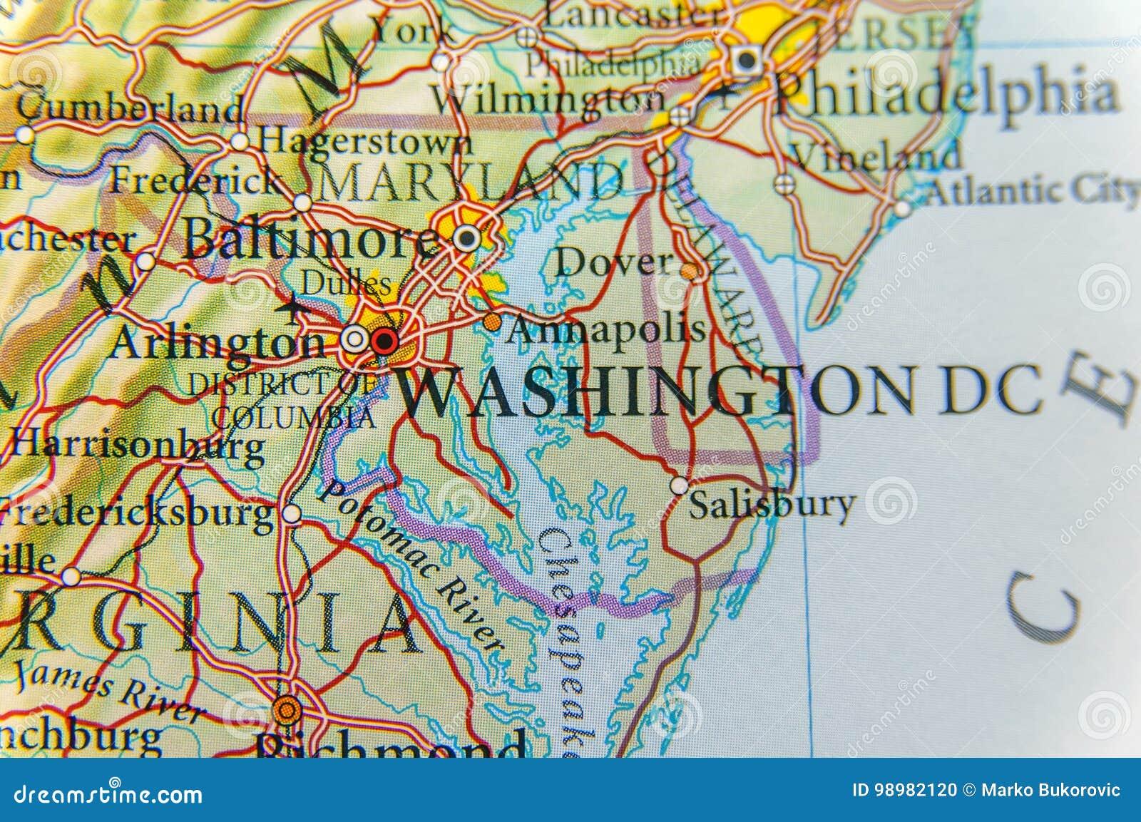 Mapa Geografico Del Cierre Del Washington Dc Foto De Archivo