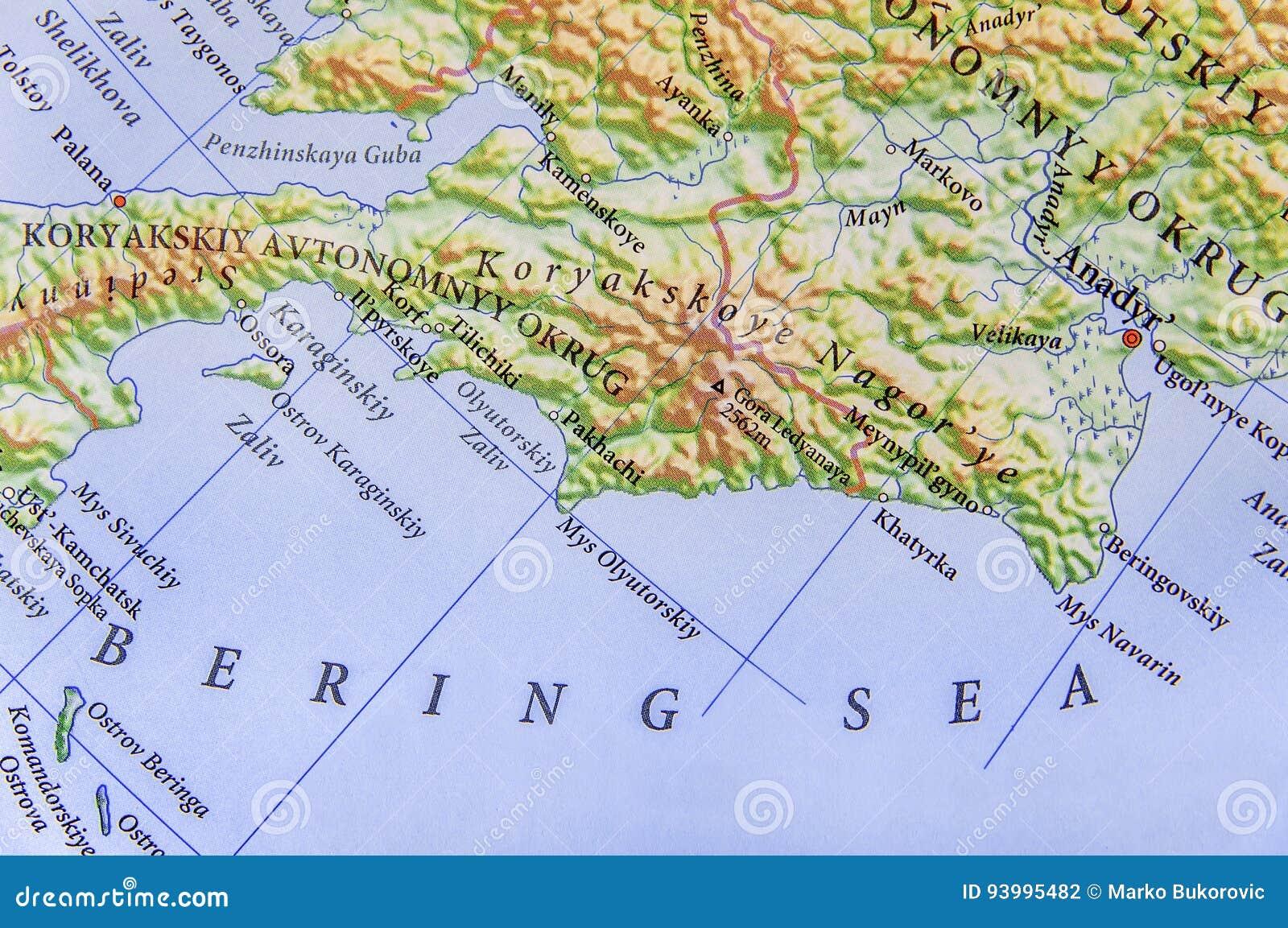 mar de bering mapa Mapa Geográfico Del Mar De Bering Del Europeo Foto de archivo  mar de bering mapa