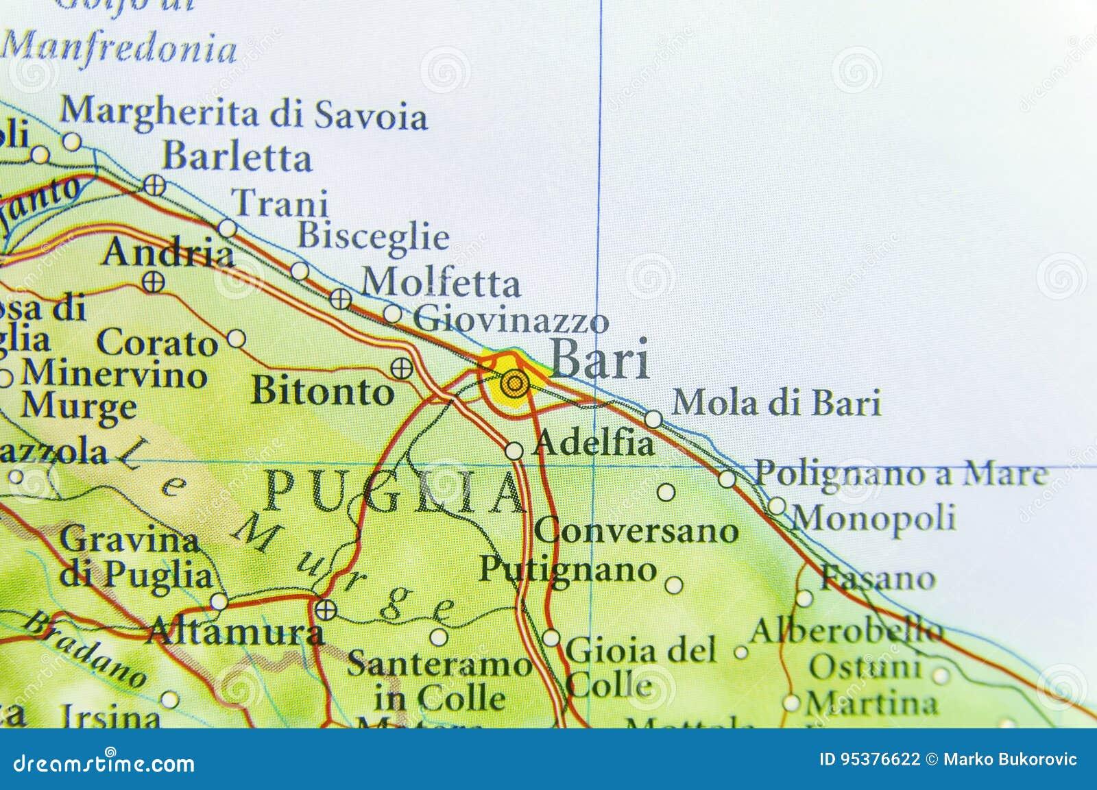 Mapa De Bari Italia.Mapa Geografico Del Pais Europeo Italia Con La Ciudad De Bari Foto De Archivo Imagen De Europeo Ciudad 95376622