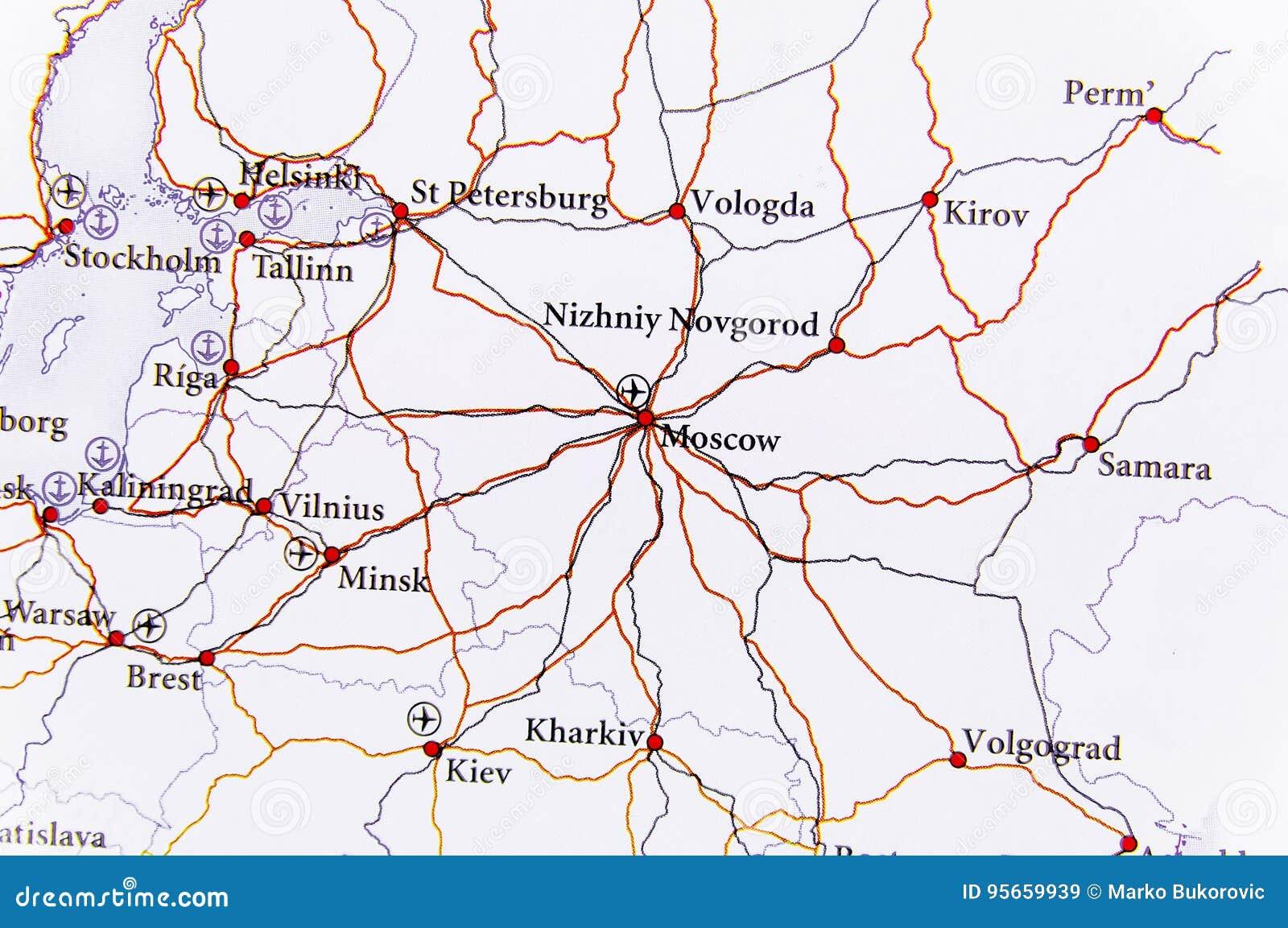 Mapa Geografico Del Pais Europeo Rusia Con La Carretera Imagen De