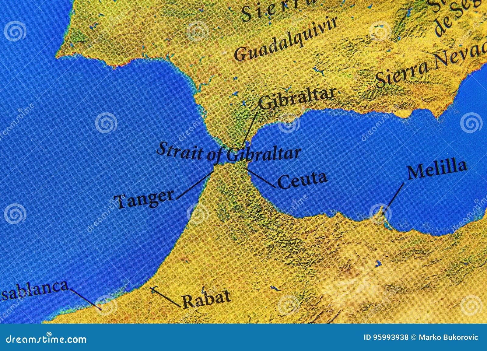 estreito gibraltar mapa Mapa Geográfico Do Estreito De Gibraltar Europeu Foto de Stock  estreito gibraltar mapa
