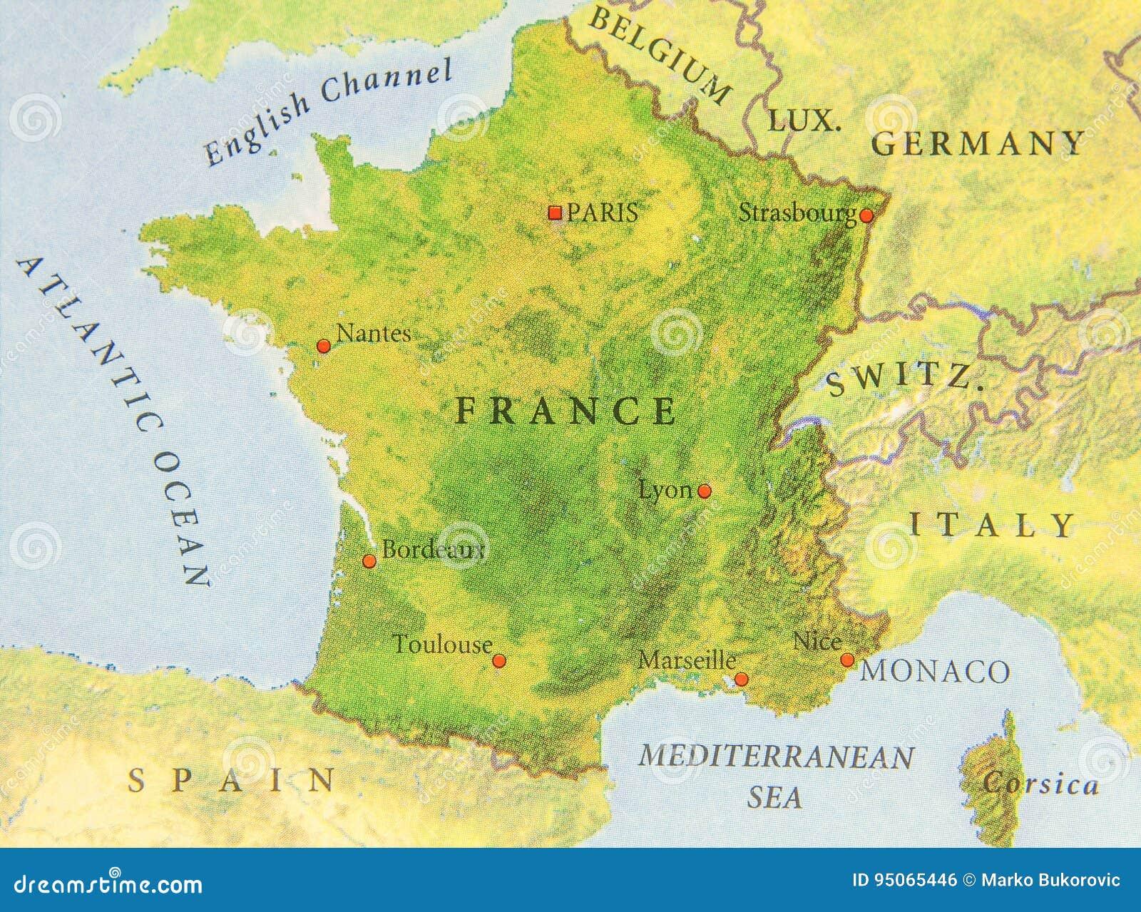 Mapa geográfico do fim de França do país europeu
