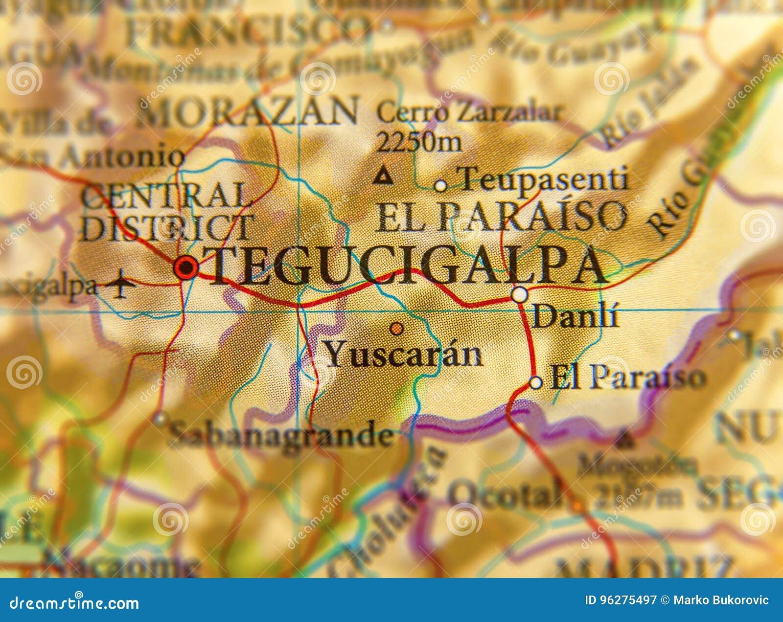 Mapa Geografico Do Fim De Tegucigalpa Da Cidade Das Honduras