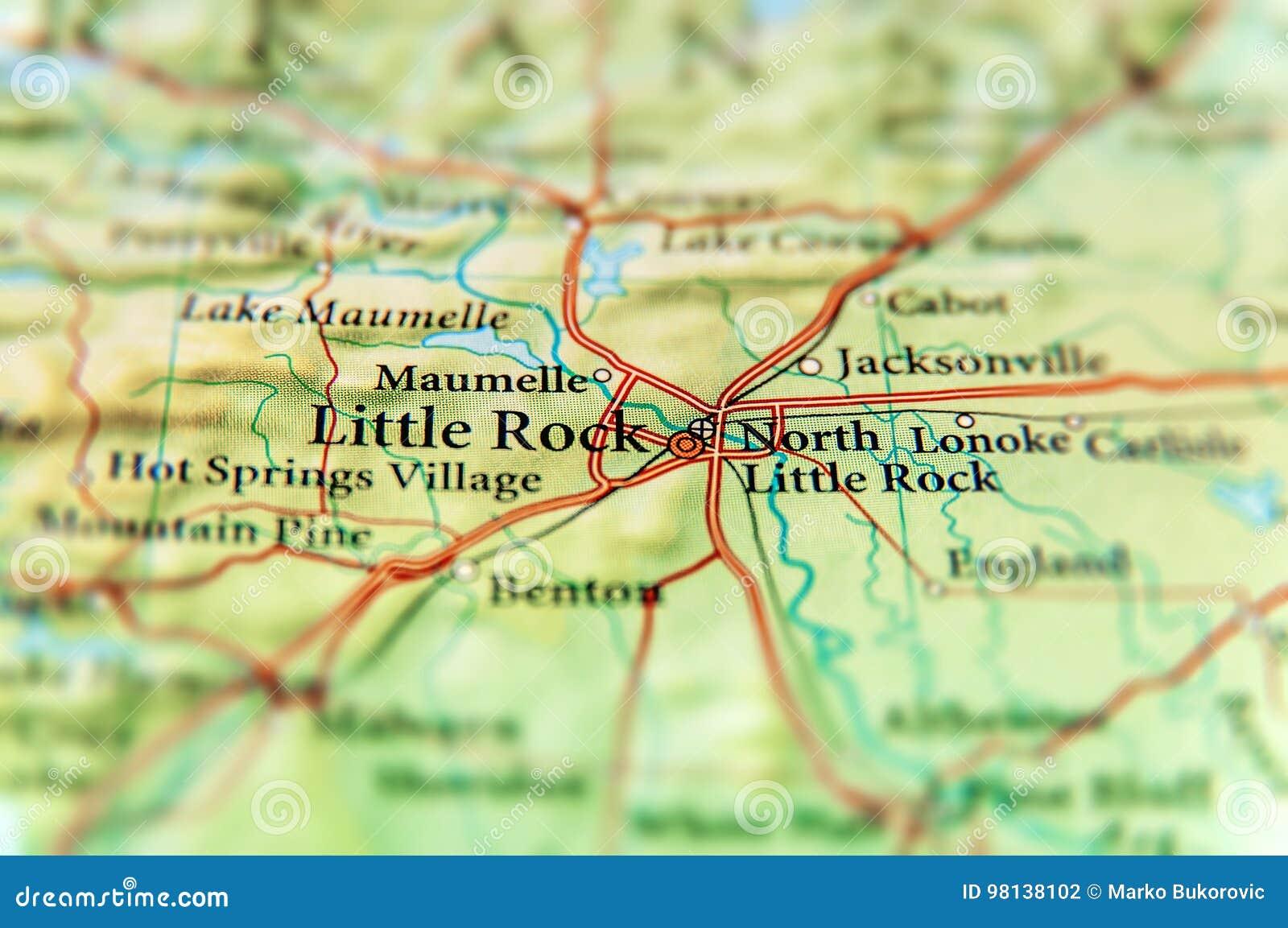 Mapa geográfico do fim do estado de E.U. Arkansas e da cidade de Little Rock