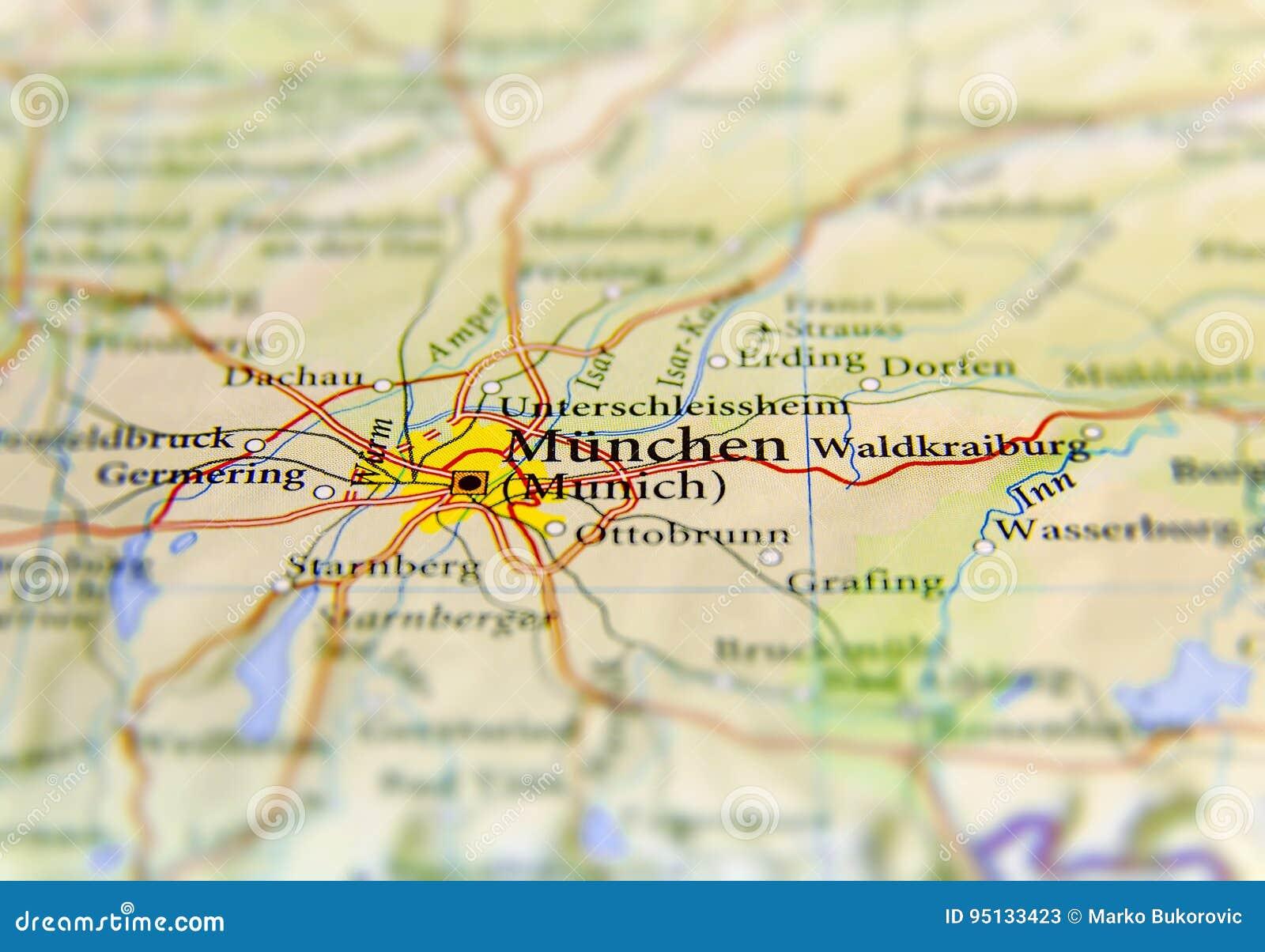 Mapa geográfico do país europeu Alemanha com cidade de Munich