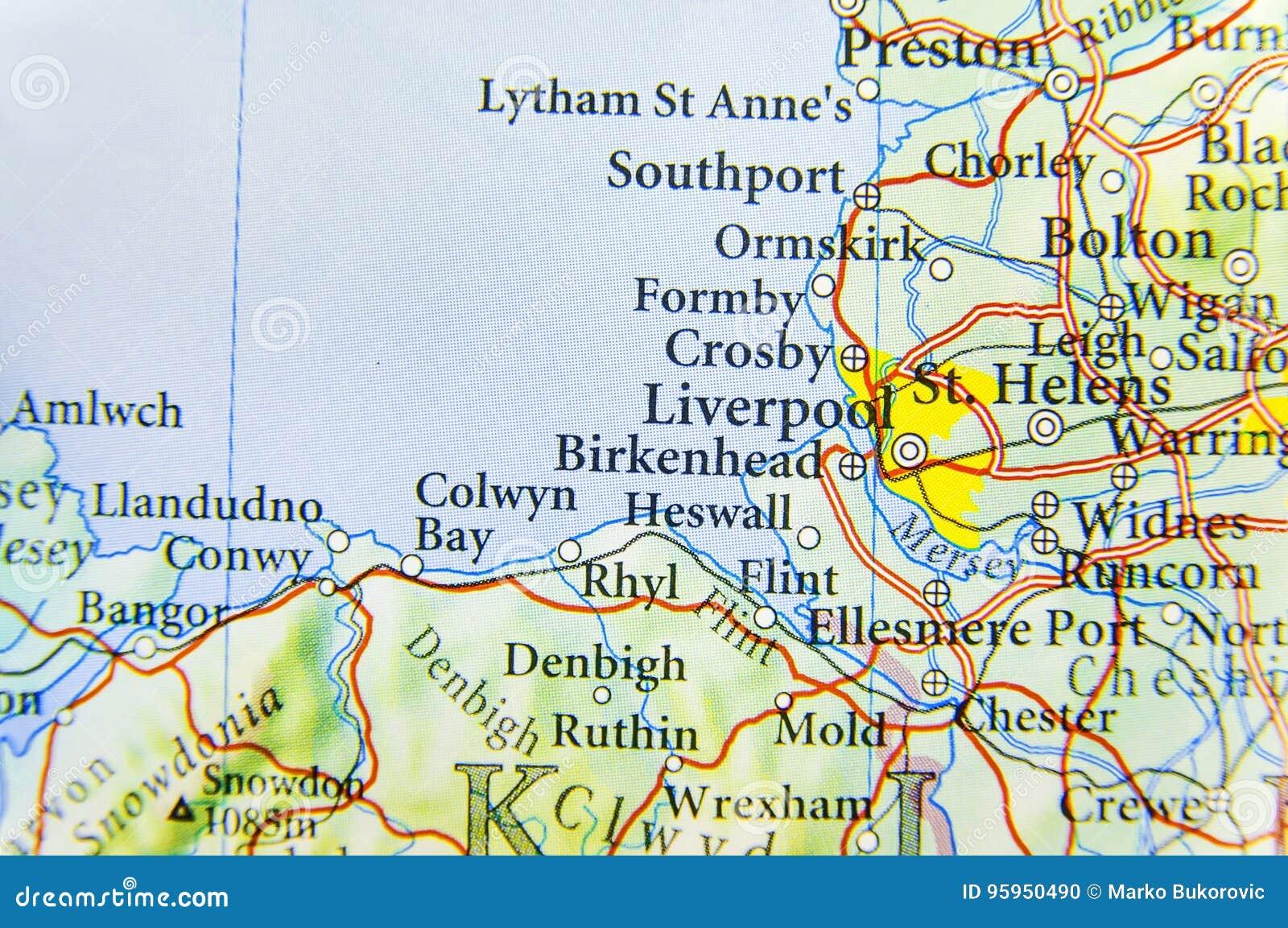 Mapa Geografico Do Pais Europeu Reino Unido Com Cidade De Liverpool Foto De Stock Imagem De Pais Mapa 95950490