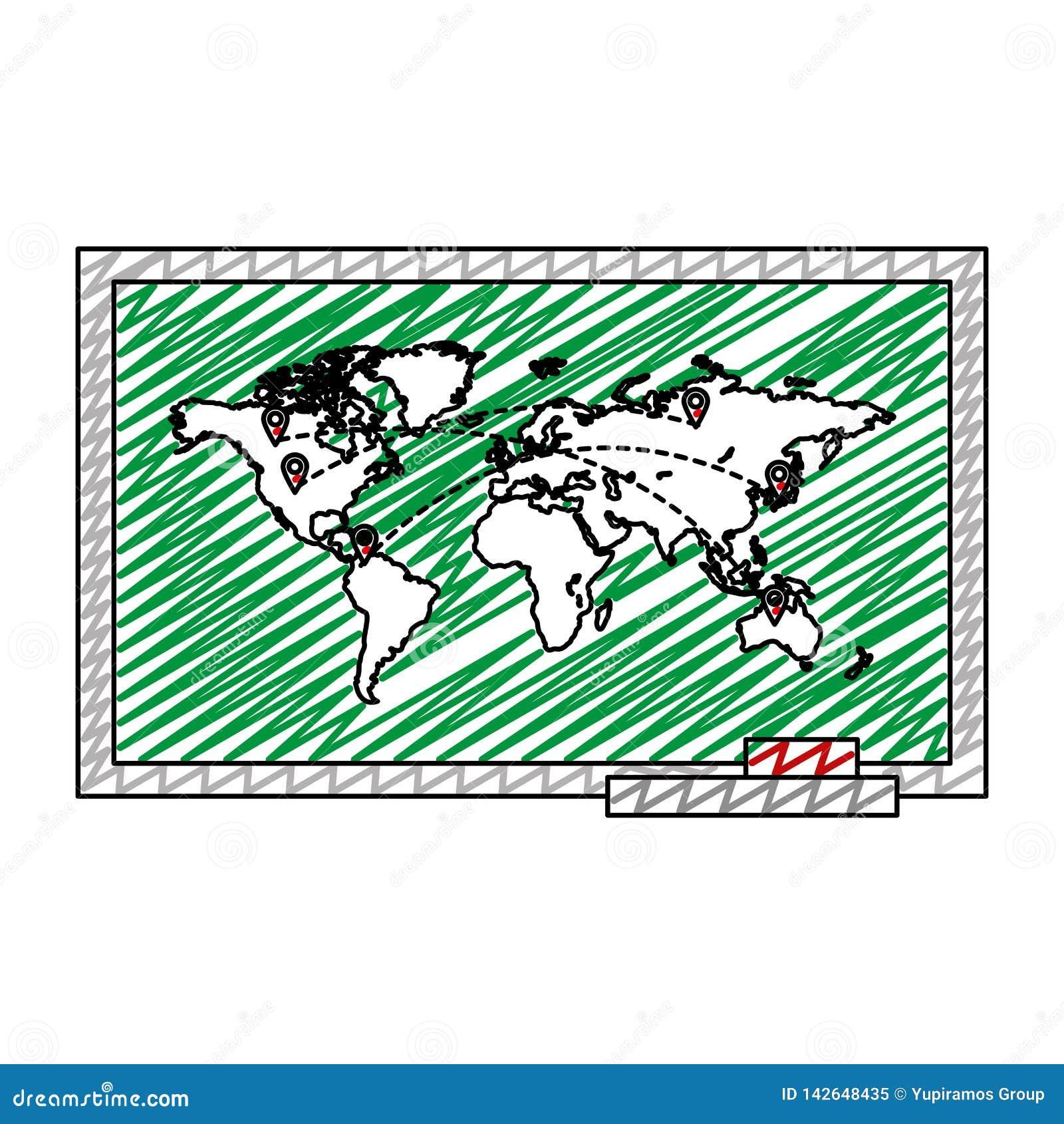 Mapa global del garabato con los destinos de los símbolos de ubicaciones