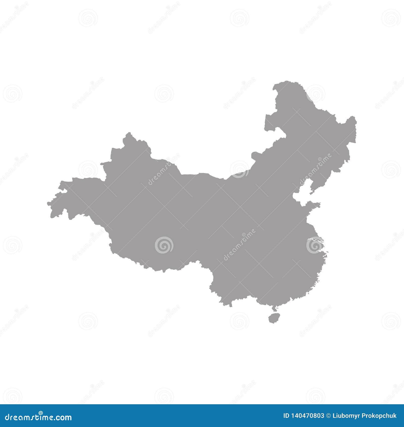 Mapa gris de China del espacio en blanco Ejemplo plano del vector