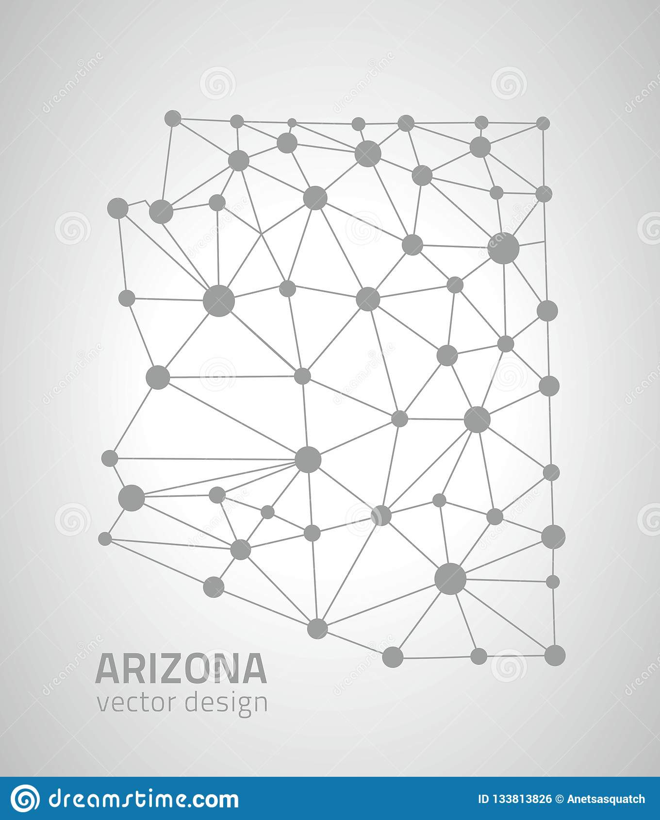 Mapa gris del triángulo del esquema del punto del vector de Arizona