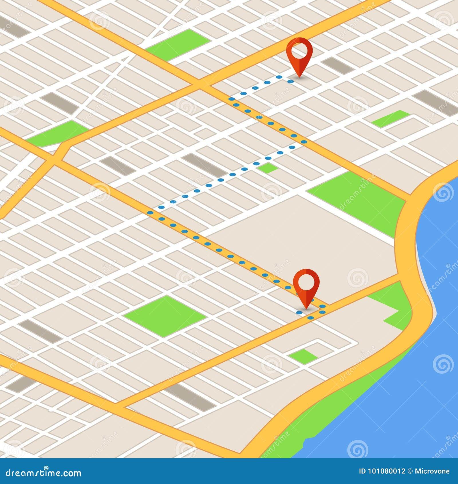Mapa isométrico 3d con los pernos de la ubicación Fondo del vector de la navegación de los Gps