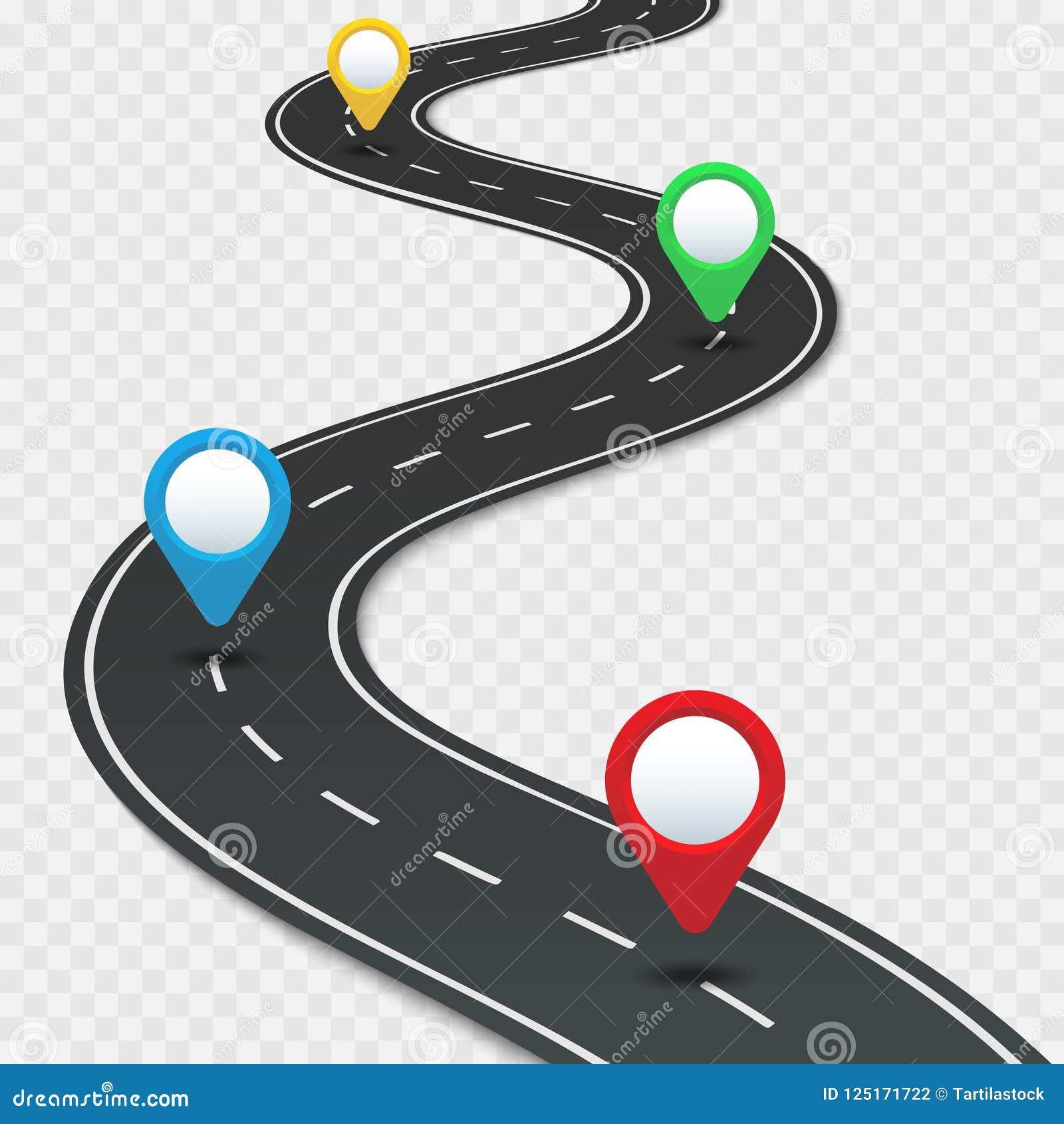 Mapa itinerario de la carretera con los pernos La dirección del camino del coche, gps encamina la navegación del viaje por carret