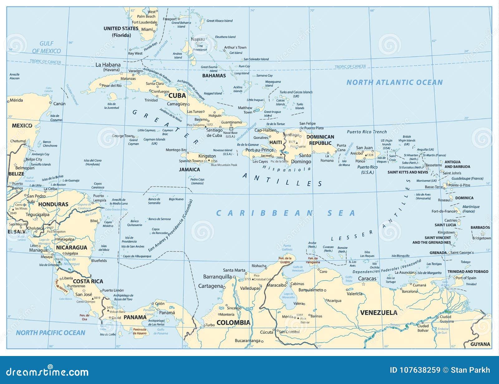 Mapa Karaiby Ilustracja Wektor Ilustracja Zlozonej Z Ocean