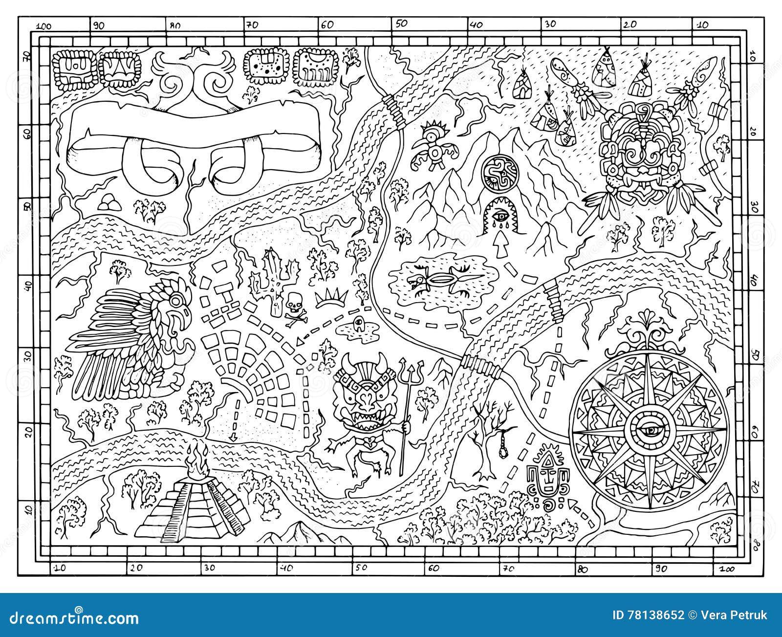 Mapa Maya Antiguo En Concepto De La Caza Del Tesoro