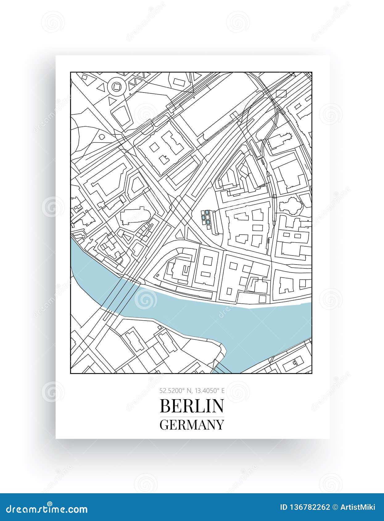 Mapa minimalista Berlim, Berlin Map Design