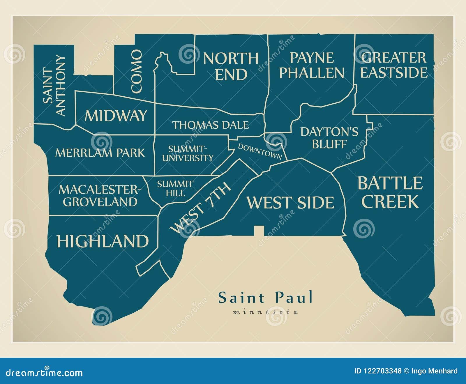 Mapa moderno de la ciudad - ciudad de Paul Minnesota del santo de los E.E.U.U. con el neig
