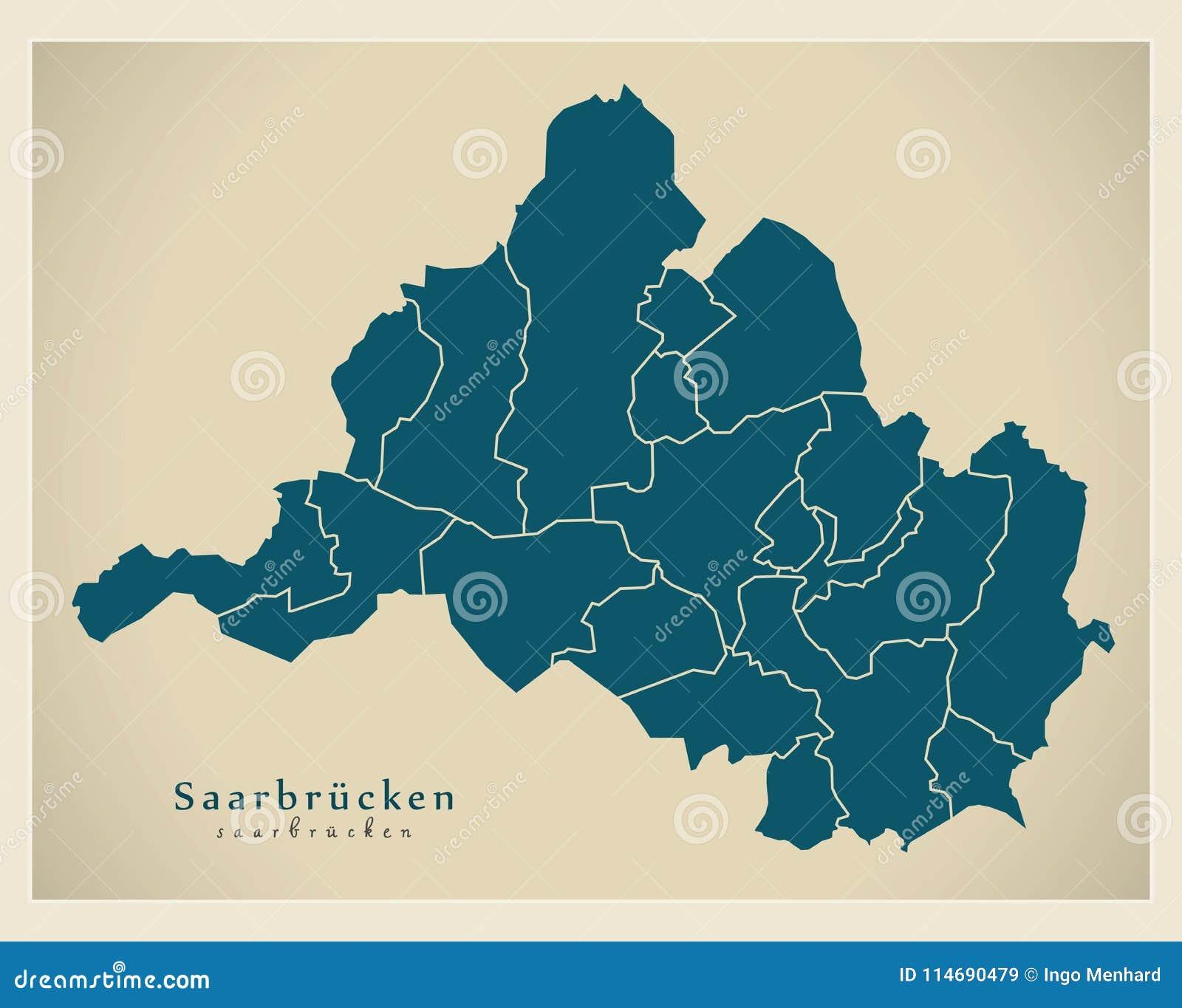 Mapa De Alemania Ciudades.Mapa Moderno De La Ciudad Ciudad De Sarrebruck De Alemania