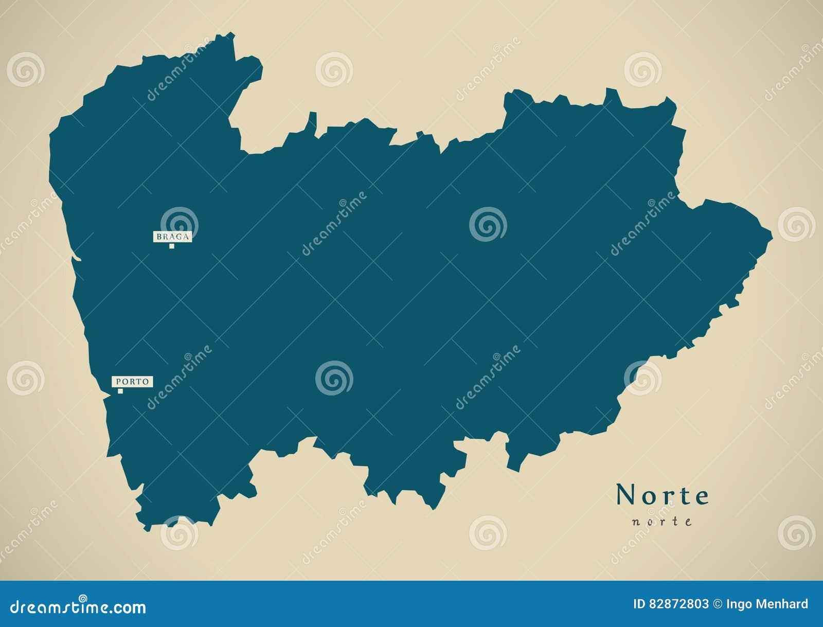 Mapa Moderno Norte Portugal Pinta Ilustracao Stock Ilustracao