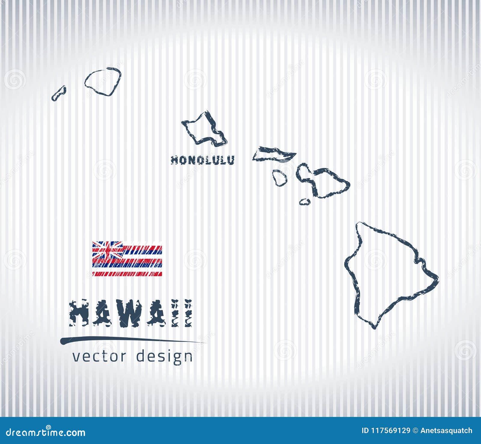 Mapa Nacional Do Desenho Do Vetor De Havai No Fundo Branco