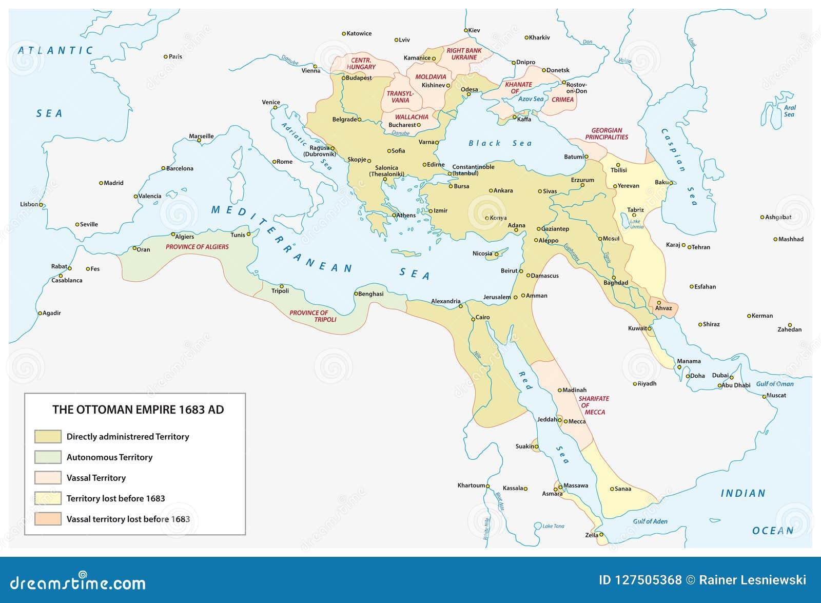 Mapa Osmański imperium w czasie wielkiej ekspansi