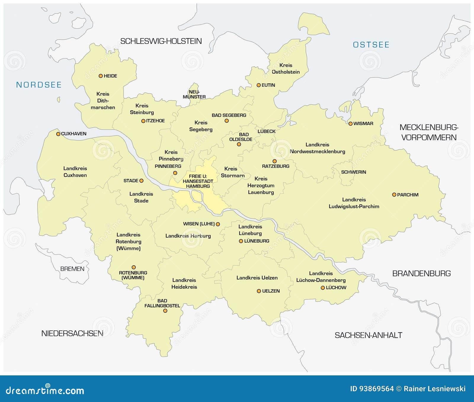 Mapa Polnocna Niemiec Metropolregion Hamburg Ilustracja Wektor