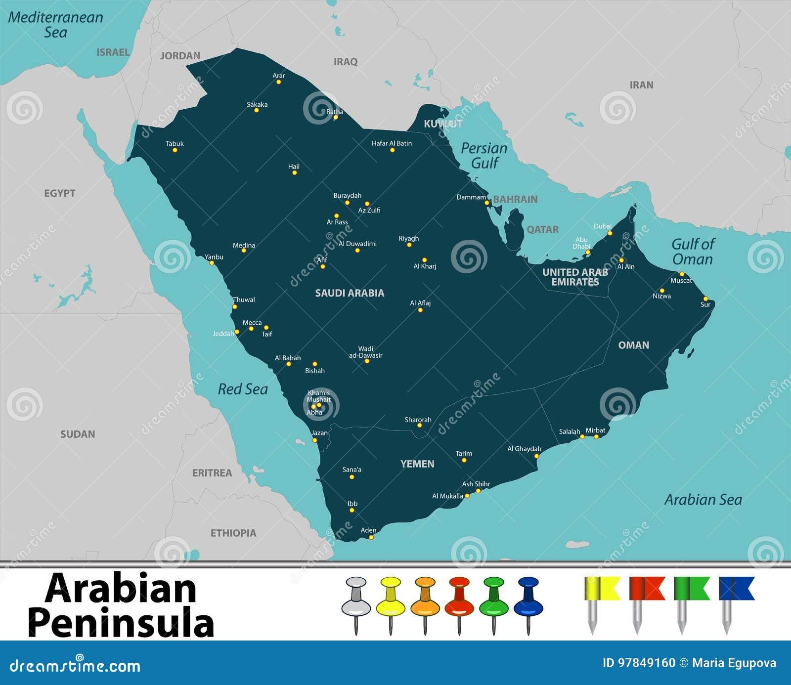 Mapa Polwysep Arabski Ilustracja Wektor Ilustracja Zlozonej Z