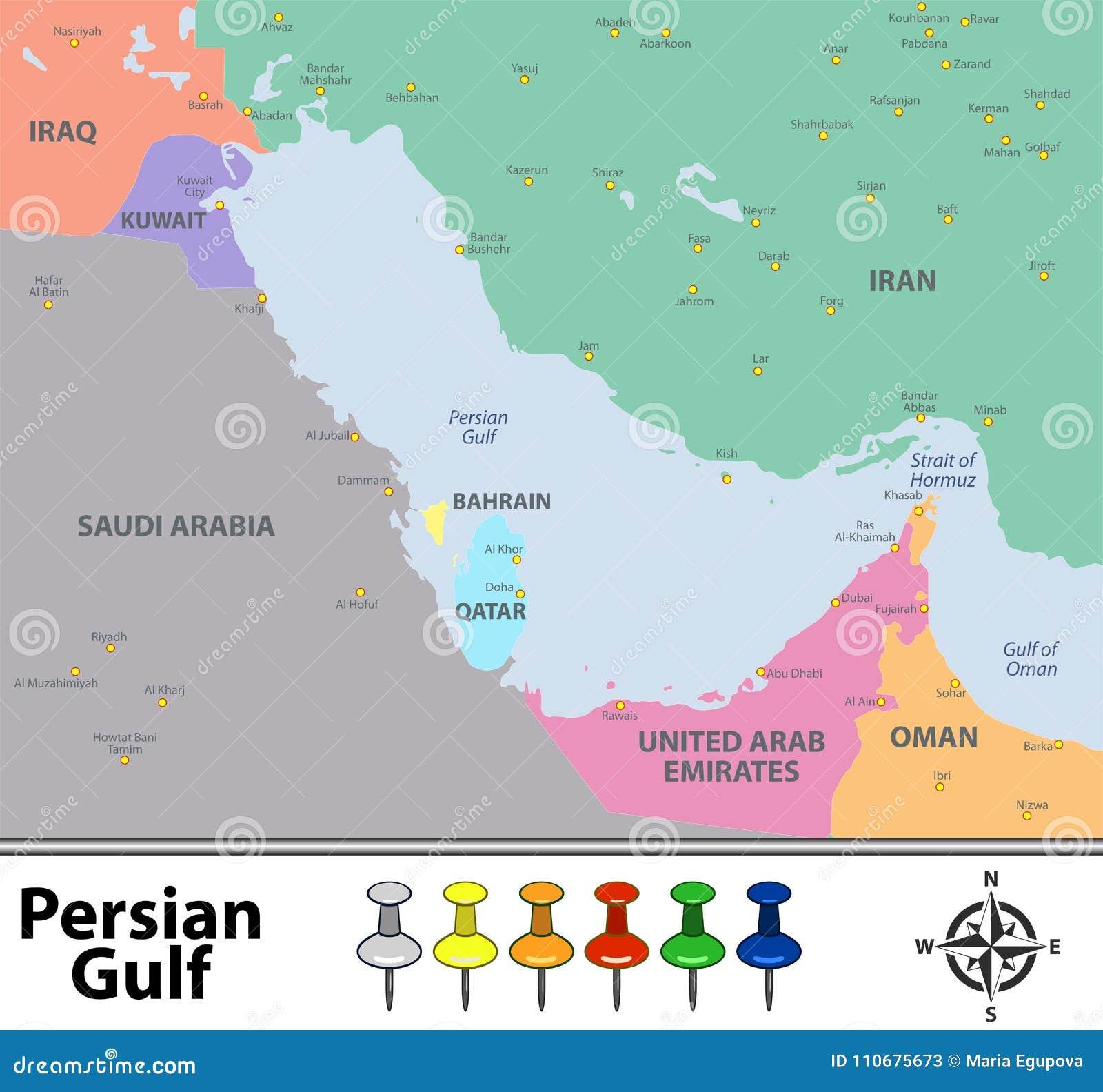 Mapa Perska Zatoka Ilustracja Wektor Ilustracja Zlozonej Z Wschod