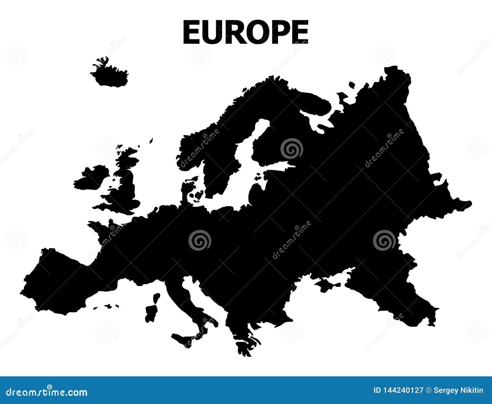 Mapa plano del vector de Europa con nombre