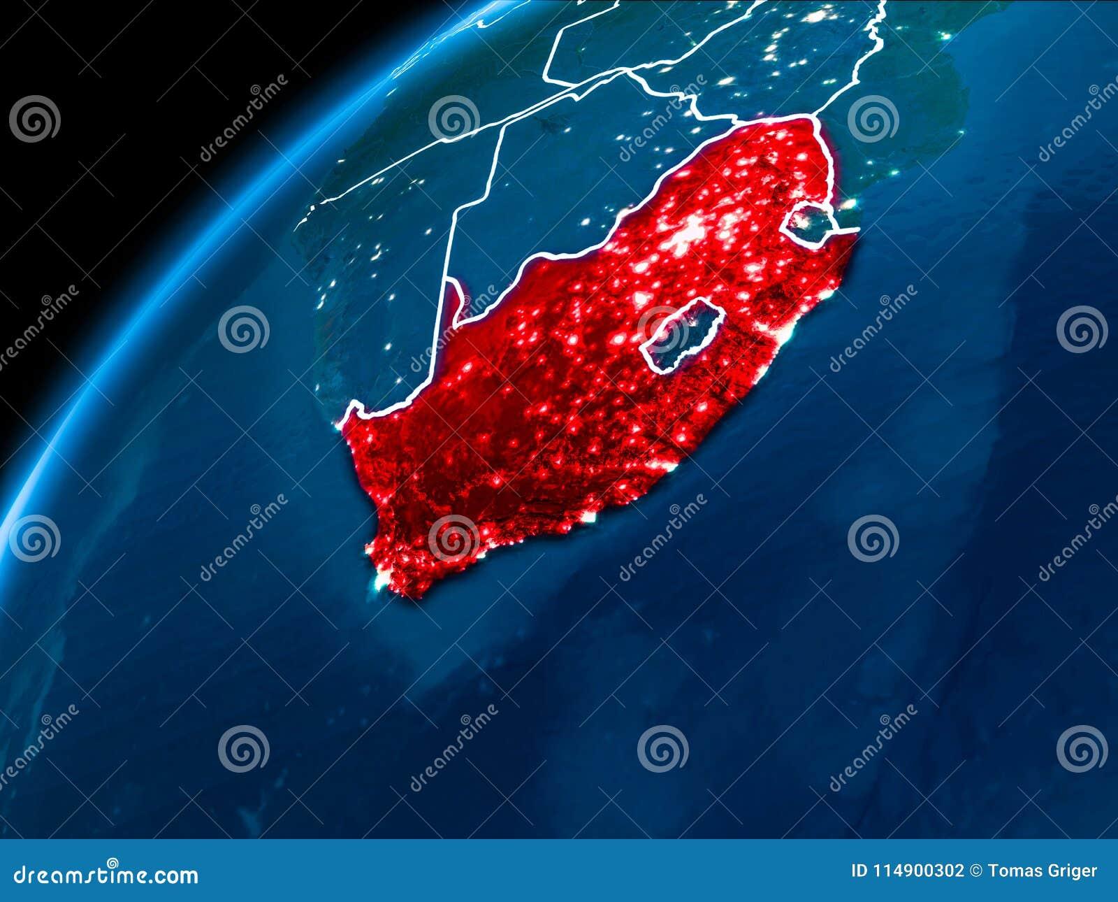 Mapa Południowa Afryka przy nocą