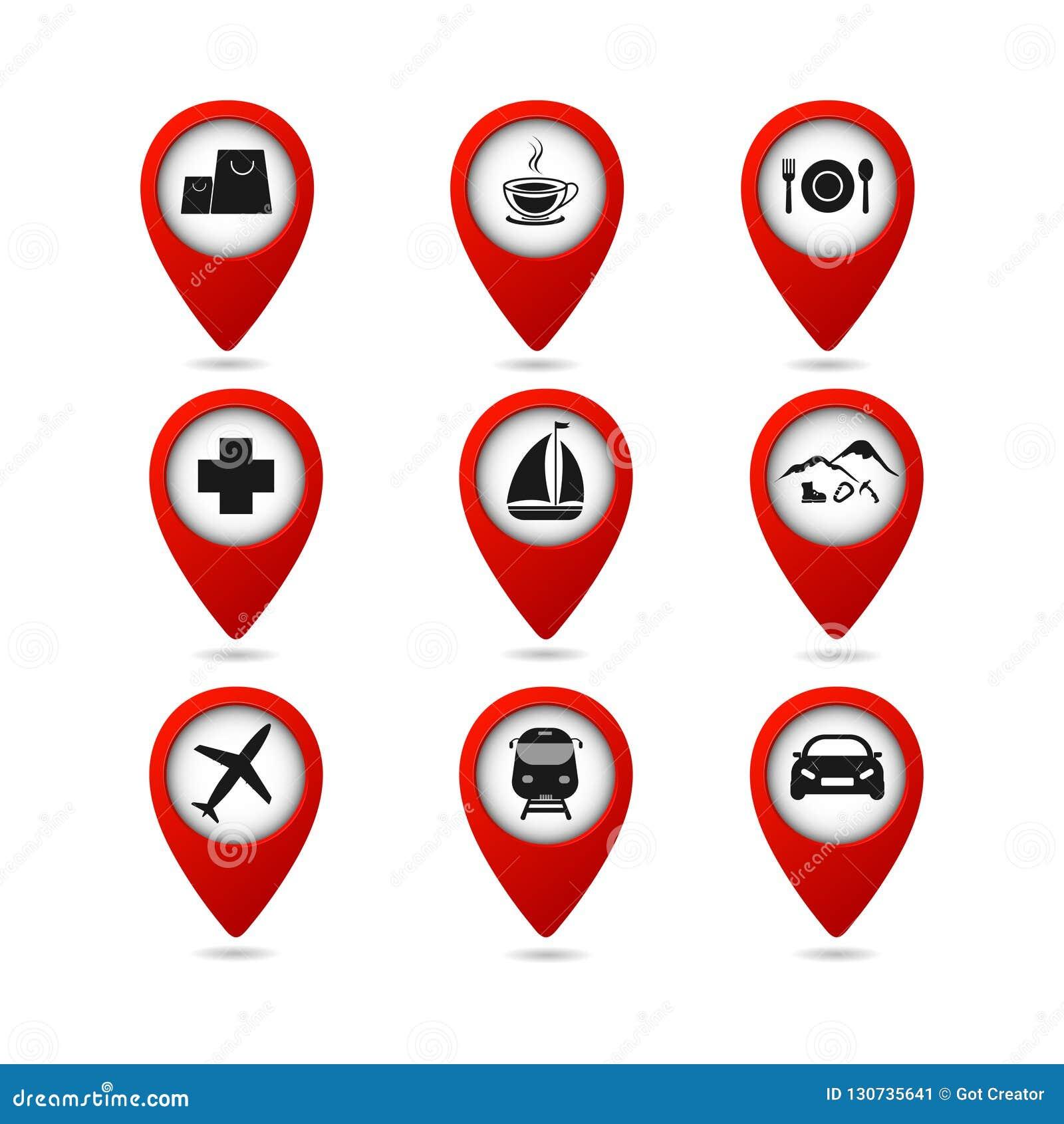 Mapa pointery z podróży ikonami