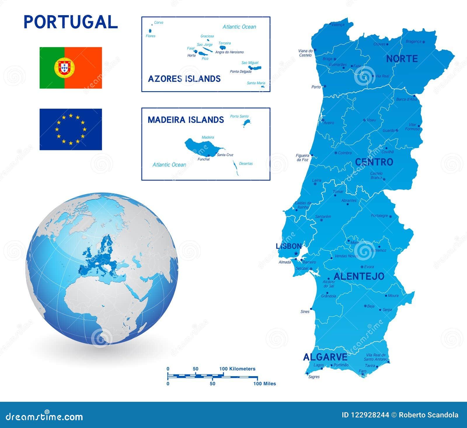 Mapa Politico Azul Do Vetor De Portugal Ilustracao Do Vetor