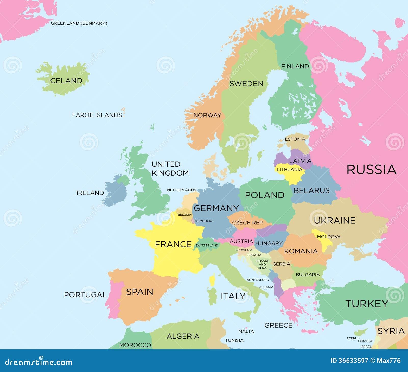 Mapa político coloreado de Europa