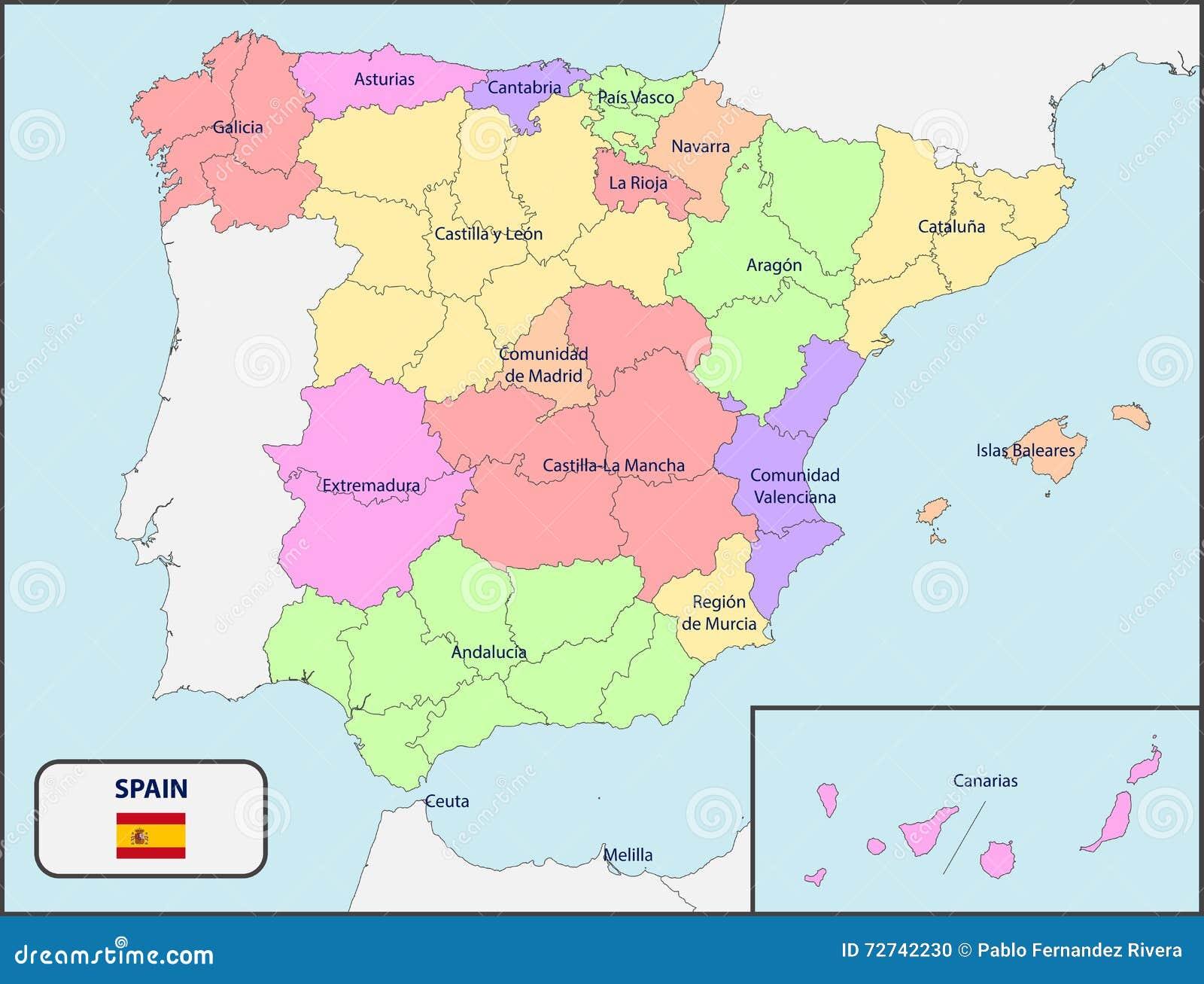 mapa politico de espanha Mapa Político Da Espanha Nomes Ilustração do Vetor  mapa politico de espanha