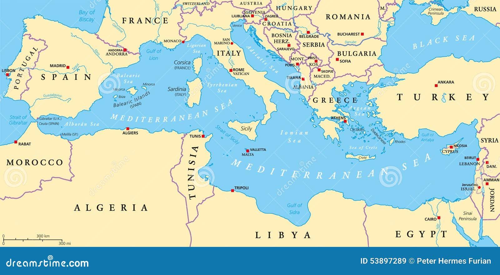 mapa do mediterraneo Mapa Político Da Região Do Mar Mediterrâneo Ilustração do Vetor  mapa do mediterraneo