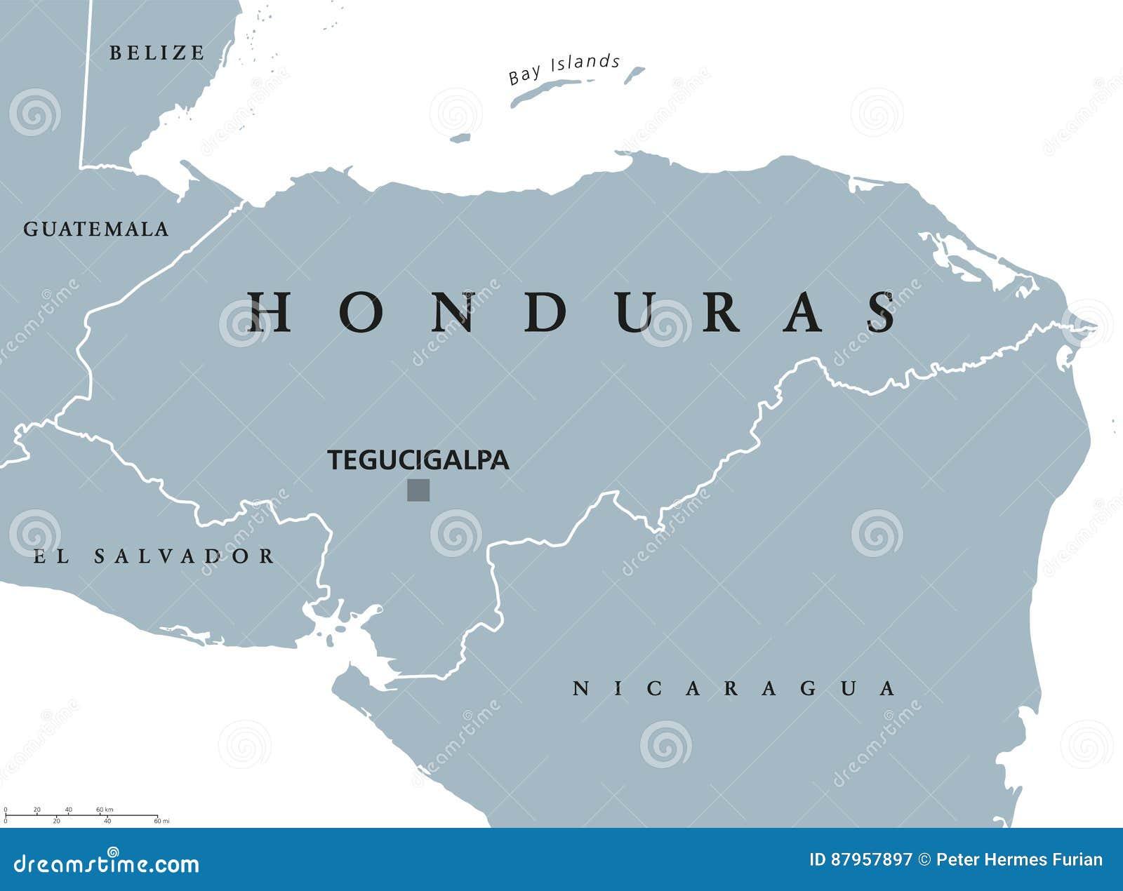 Mapa Politico Das Honduras Ilustracao Do Vetor Ilustracao De