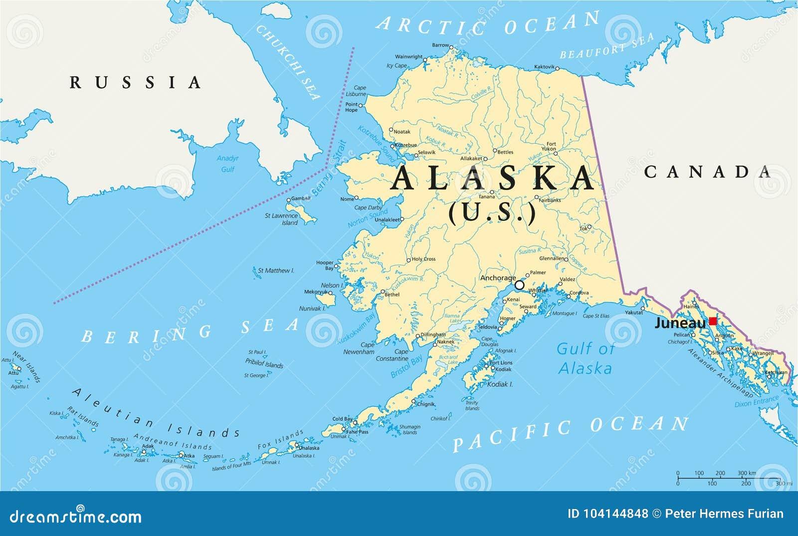 Mapa Político De Alaska Ilustración Del Vector Ilustración De Estrecho 104144848