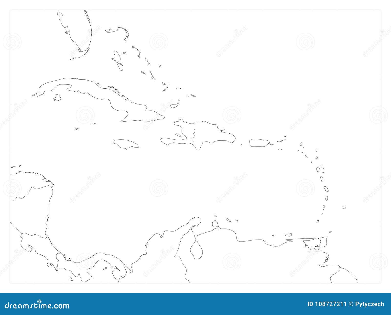 Mapa político de America Central y de los estados del Caribe Fronteras negras del esquema Ejemplo plano simple del vector