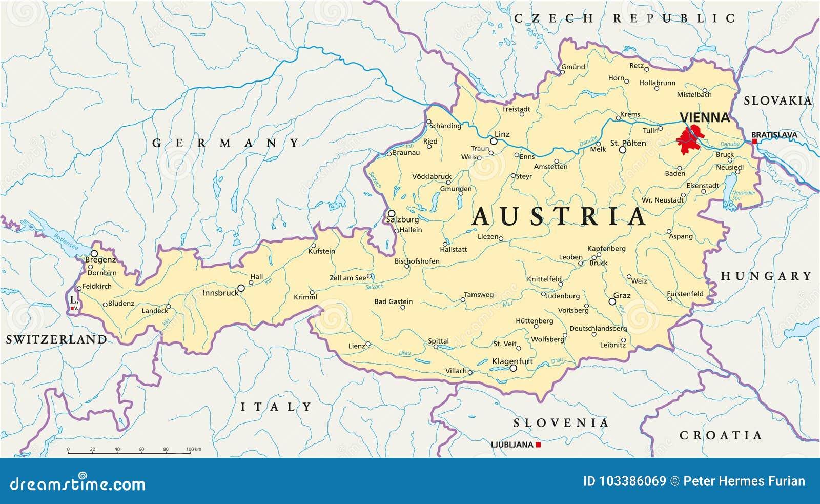 Mapa Politico De Austria Ilustracion Del Vector Ilustracion De