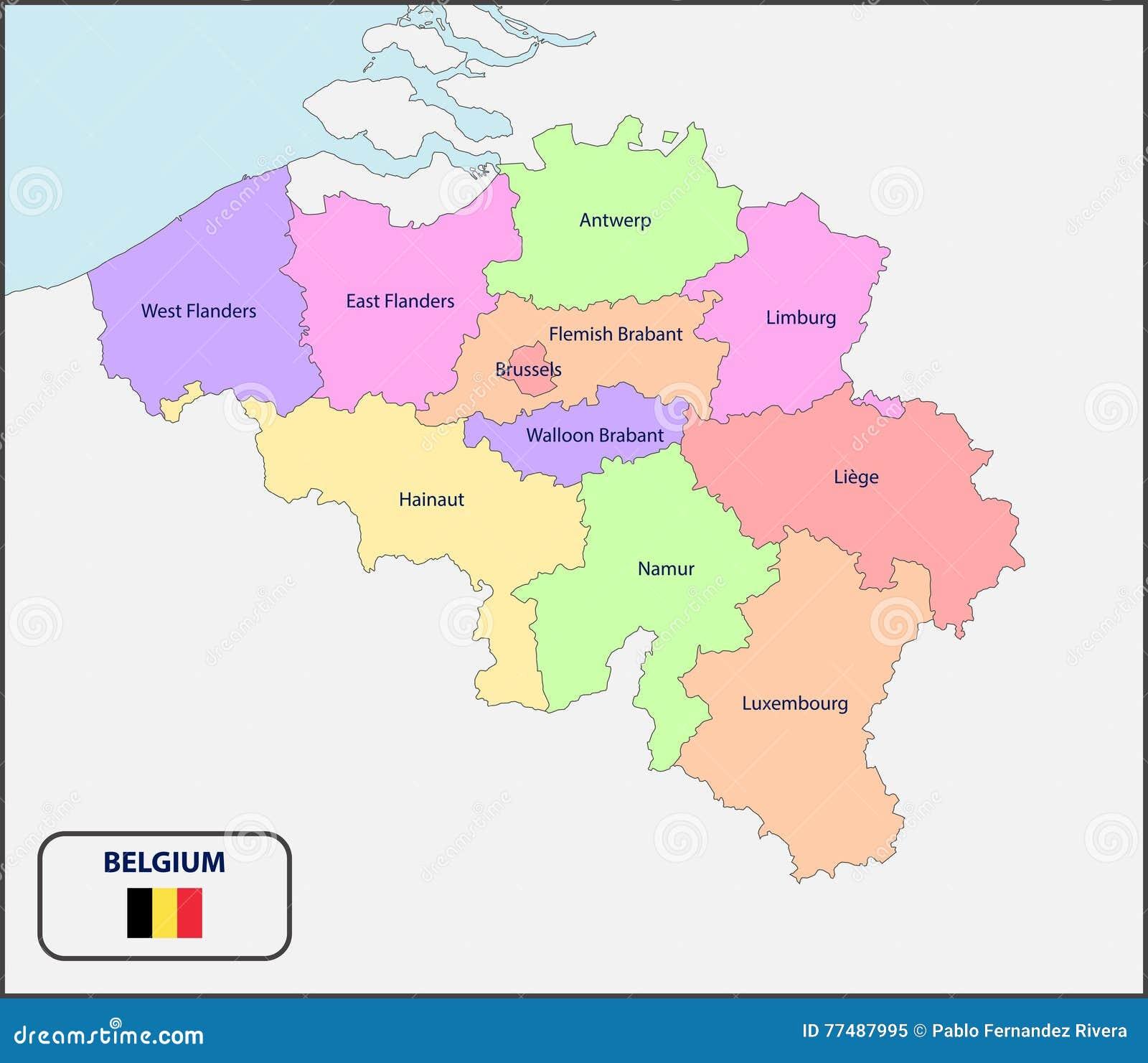 Mapa Politico De Belgica Con Nombres Stock De Ilustracion