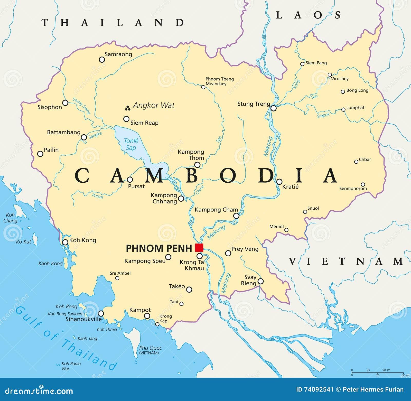 Mapa Politico De Camboya Ilustracion Del Vector Ilustracion De