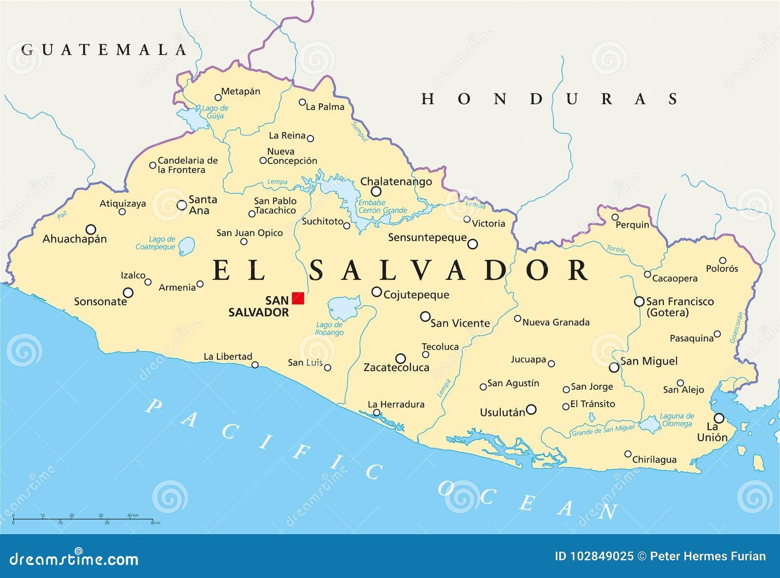 Mapa Político De El Salvador Ilustración Del Vector Ilustración De