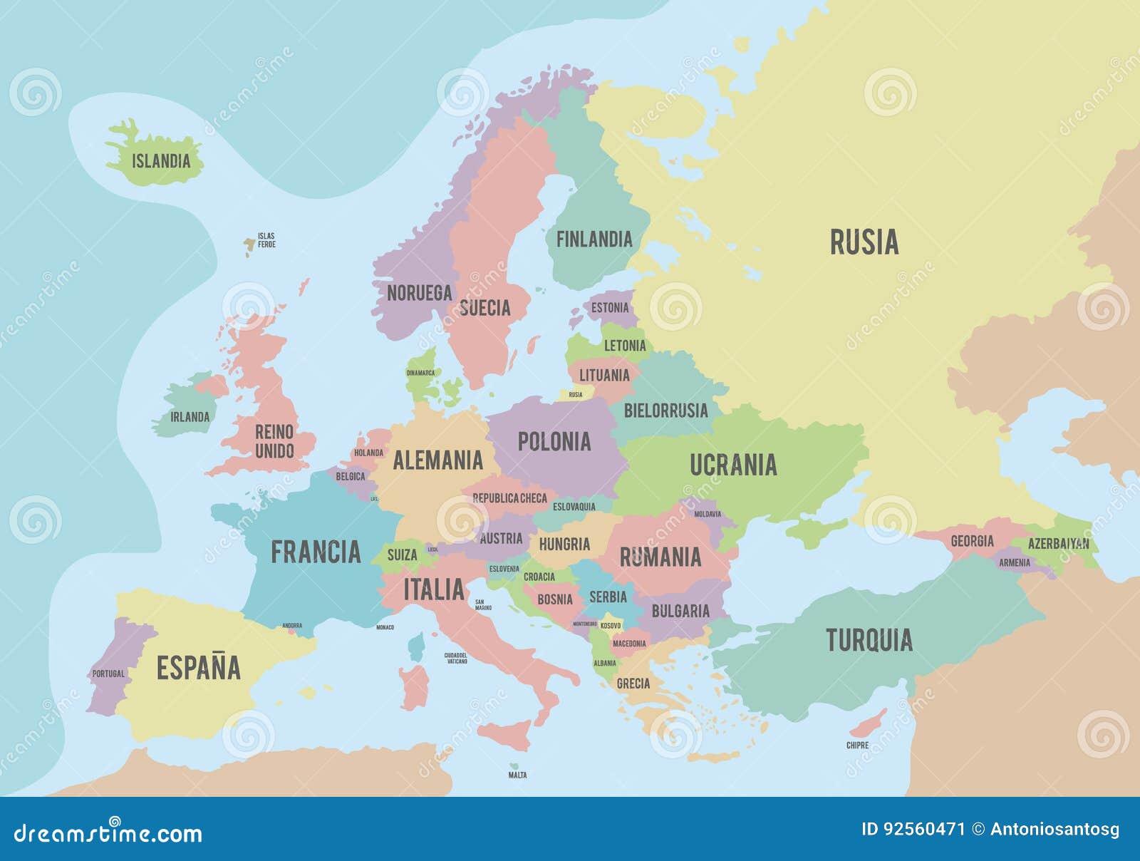 Mapa político de Europa con diversos colores para cada país y los nombres en español