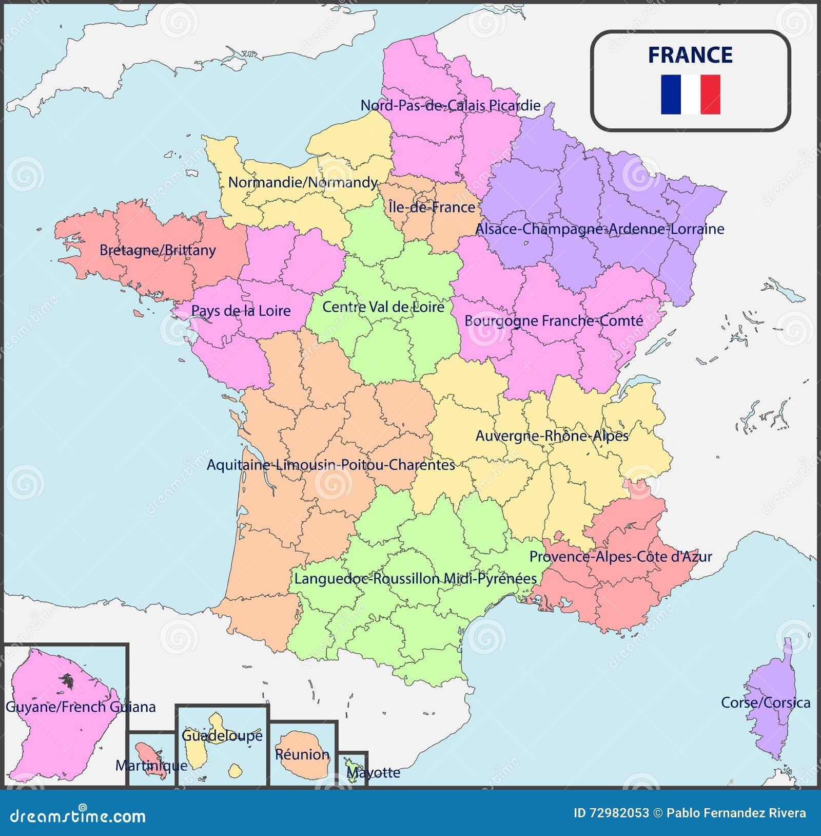 Mapa Politico De Francia Con Nombres Ilustracion Del Vector