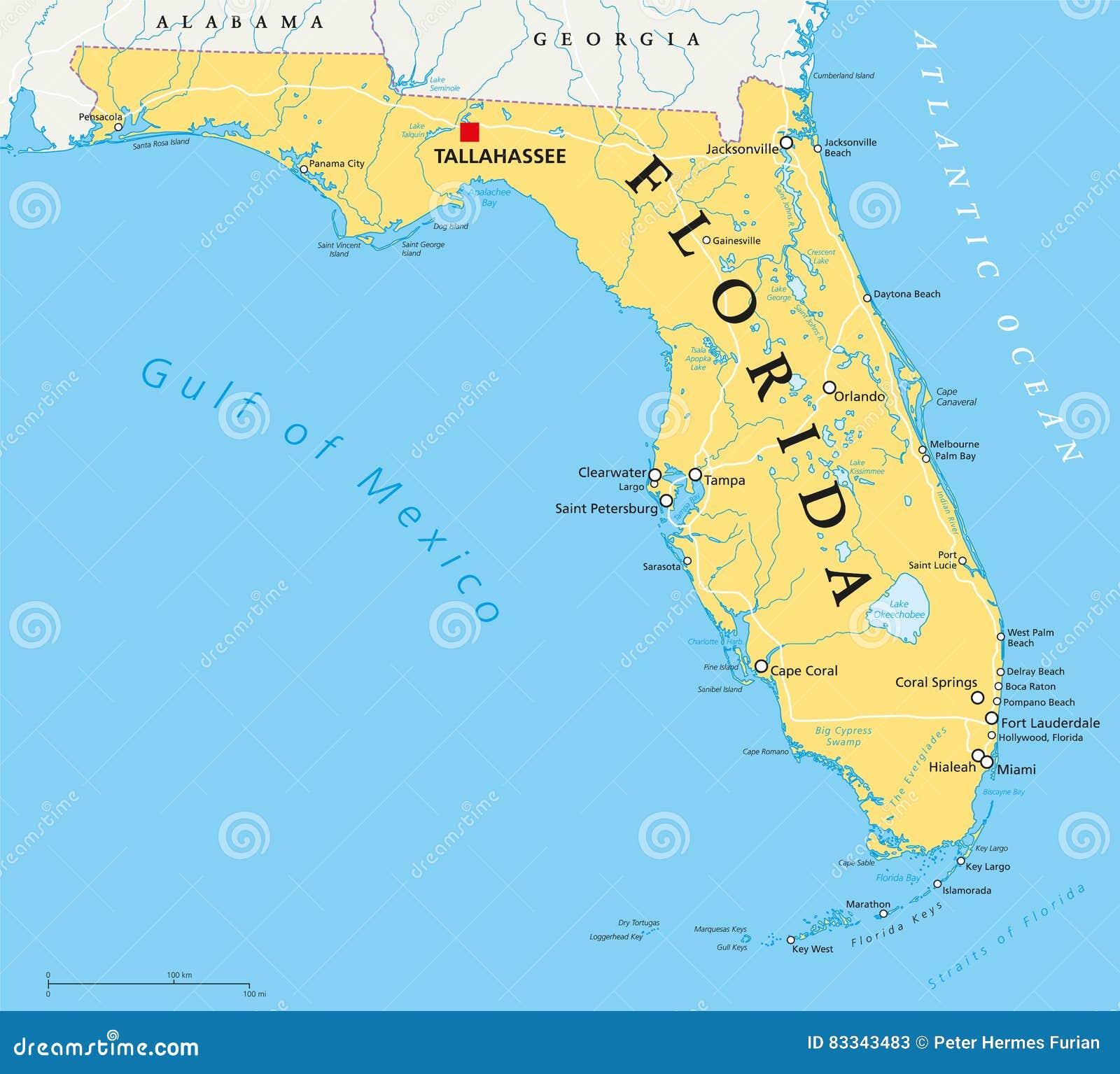Mapa Político De La Florida Ilustración Del Vector Ilustración De Miami Correspondencia 83343483